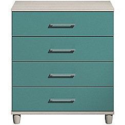 Debenhams - Turquoise gloss 'Hazel' 4 drawer chest