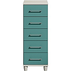 Debenhams - Turquoise gloss 'Hazel' narrow 5 drawer chest