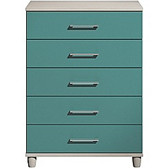 Debenhams - Turquoise gloss 'Hazel' 5 drawer chest