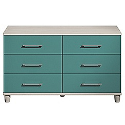 Debenhams - Turquoise gloss 'Hazel' 6 drawer chest