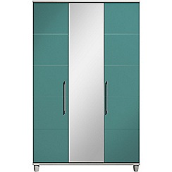 Debenhams - Turquoise gloss 'Hazel' triple wardrobe with mirror