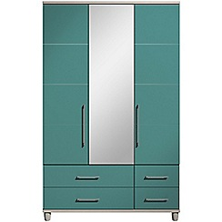 Debenhams - Turquoise gloss 'Hazel' triple wardrobe with drawers and mirror
