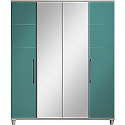 Debenhams - Turquoise gloss 'Hazel' 4 door wardrobe with mirror