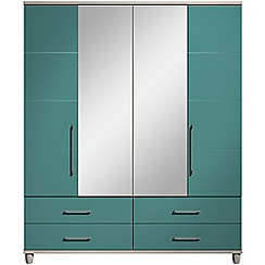 Debenhams - Turquoise gloss 'Hazel' 4 door wardrobe with drawers and mirror