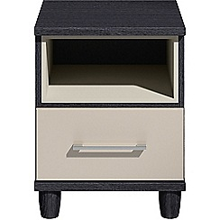 Debenhams - Grey gloss 'Hazel'  bedside cabinet with drawer and light
