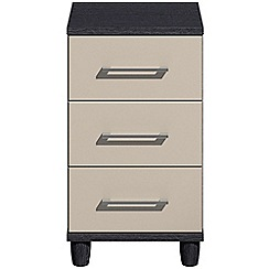 Debenhams - Grey gloss 'Hazel'  bedside cabinet with 3 drawers