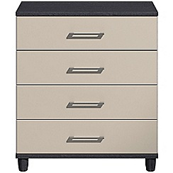 Debenhams - Grey gloss 'Hazel' 4 drawer chest