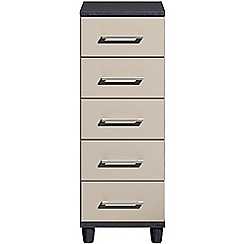 Debenhams - Grey gloss 'Hazel' narrow 5 drawer chest