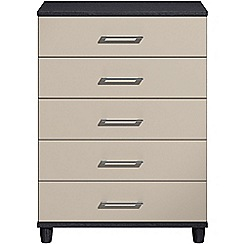 Debenhams - Grey gloss 'Hazel' 5 drawer chest