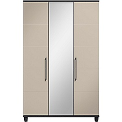 Debenhams - Grey gloss 'Hazel' triple wardrobe with mirror