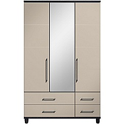 Debenhams - Grey gloss 'Hazel' triple wardrobe with drawers and mirror