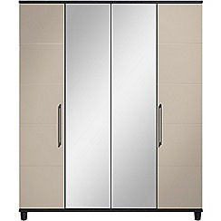 Debenhams - Grey gloss 'Hazel' 4 door wardrobe with mirror