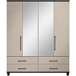 Debenhams - Grey gloss 'Hazel' 4 door wardrobe with drawers and mirror