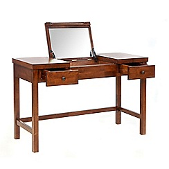 Willis & Gambier - Dark brown 'Kochi' dressing table with inbuilt mirror and stool