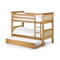 Debenhams Pine 'Barcelona' bunk bed with underbed frame and 'Platinum' mattresses