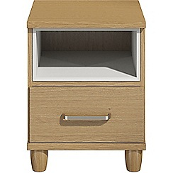 Debenhams - Oak effect 'Hazel'  bedside cabinet with drawer and light