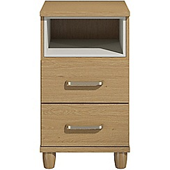 Debenhams - Oak effect 'Hazel'  bedside cabinet with 2 drawers and light