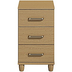 Debenhams - Oak effect 'Hazel'  bedside cabinet with 3 drawers