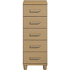 Debenhams - Oak effect 'Hazel'  narrow 5 drawer chest