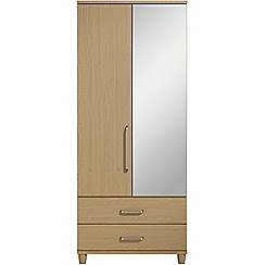 Debenhams - Oak effect 'Hazel' double wardrobe with drawers and mirror