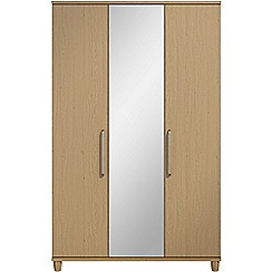 Debenhams - Oak effect 'Hazel' triple wardrobe with mirror