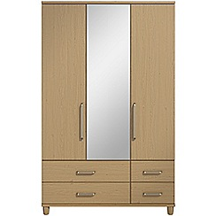 Debenhams - Oak effect 'Hazel' triple wardrobe with drawers and mirror