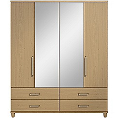 Debenhams - Oak effect 'Hazel' 4 door wardrobe with drawers and mirror