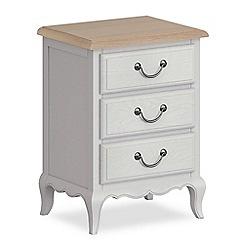 Corndell - Light grey 'Ascot' 3 drawer bedside cabinet