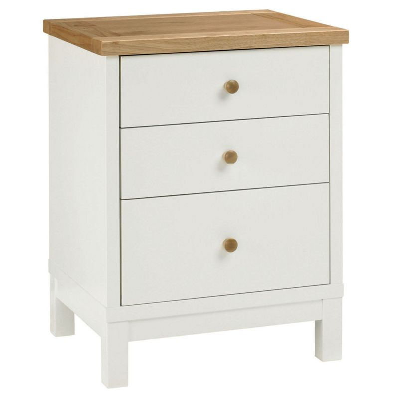 Debenhams - Beech And Painted 'Burlington' Bedside Cabinet With 3 Drawers