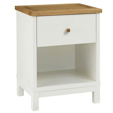 Debenhams - Oak and painted +Burlington+ bedside cabinet with single drawer