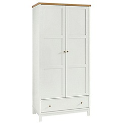 Debenhams - Oak and painted 'Burlington' double wardrobe with drawer