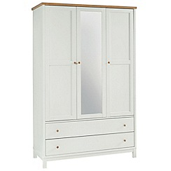 Debenhams - Beech and painted 'Burlington' triple wardrobe with mirror and drawers