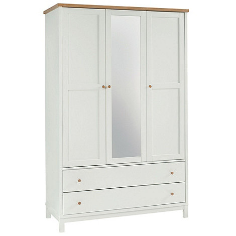 Debenhams - Beech and painted +Burlington+ triple wardrobe with mirror and drawers