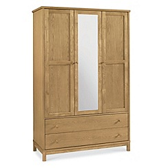 Debenhams - Oak finished 'Burlington' triple wardrobe with mirror and drawers