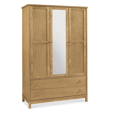Debenhams - Oak finished +Burlington+ triple wardrobe with mirror and drawers