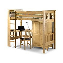Julian Bowen - Pine 'Highsleeper' cabin bed with 'Premier' mattresses