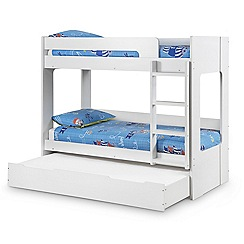 Debenhams White 'Ellie' bunk bed with drawer and 'Premier' mattresses