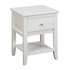 Debenhams - White 'Epsom' bedside cabinet with single drawer