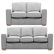 Set of large and small silver coloured 'Winwood' sofas with light wood feet