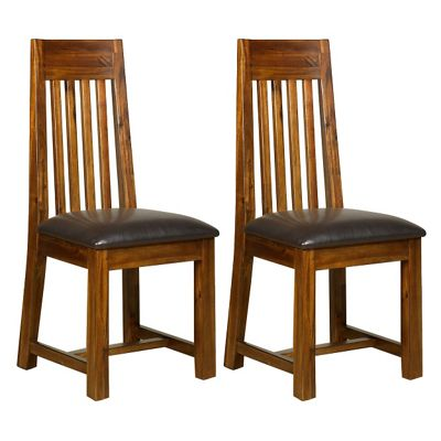 Debenhams Pair of acacia Elba slatted back dining chairs