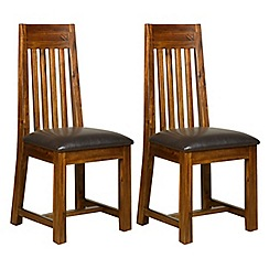 Debenhams - Pair of acacia 'Elba' slatted back dining chairs