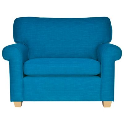 Teal Oban snuggler chair with light feet