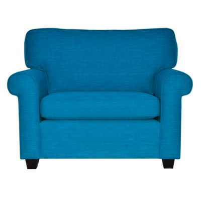 Teal Oban snuggler chair with dark feet