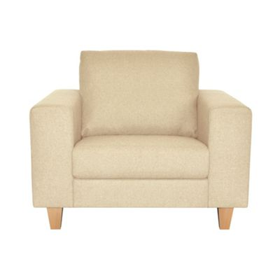 Natural Cara upholstered snuggler chair with light wood feet