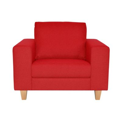 Red Cara upholstered snuggler chair with light wood feet