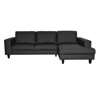 Ben de Lisi Home Black leather ´Cara´ right hand facing chaise corner sofa with dark wood feet - -