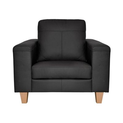 Ben de Lisi Home Black leather ´Cara´ armchair with light wood feet - -