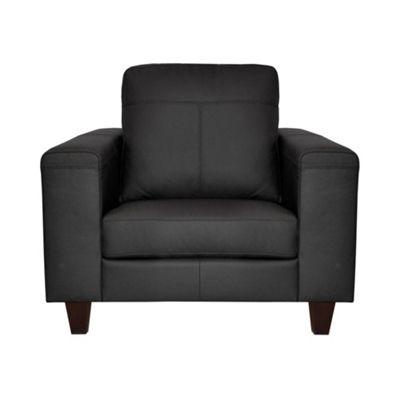 Ben de Lisi Home Black leather ´Cara´ armchair with dark wood feet - -