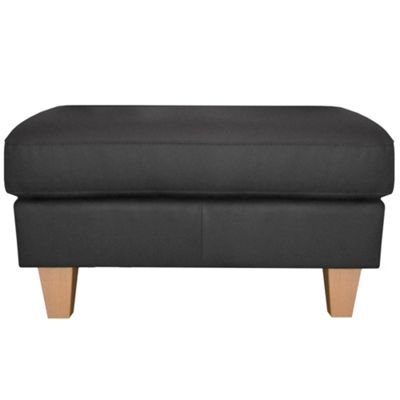 Ben de Lisi Home Black leather ´Cara´ footstool with light wood feet - -