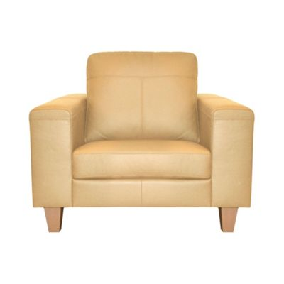 Cream Cara madras leather snuggler chair with light wood feet